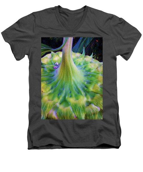 Men's V-Neck T-Shirt featuring the photograph Sunflower...moonside 1 by Daniel Thompson
