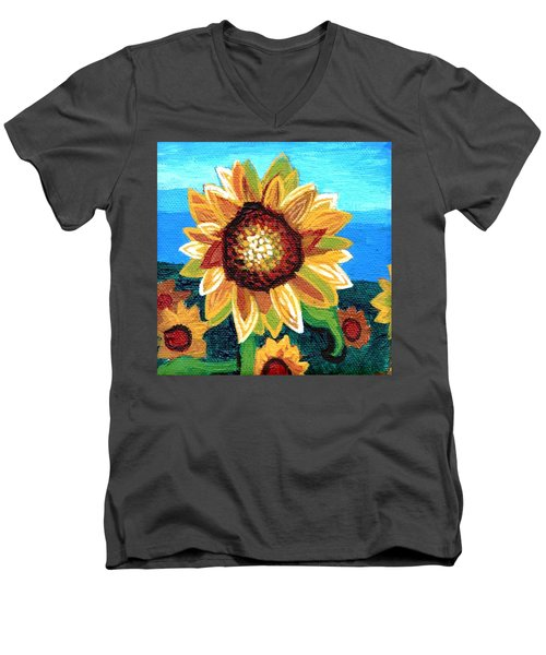 Sunflowers And Blue Sky Men's V-Neck T-Shirt by Genevieve Esson