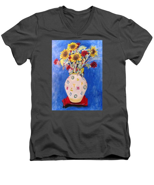 Men's V-Neck T-Shirt featuring the painting Sunflowers At Home by Esther Newman-Cohen