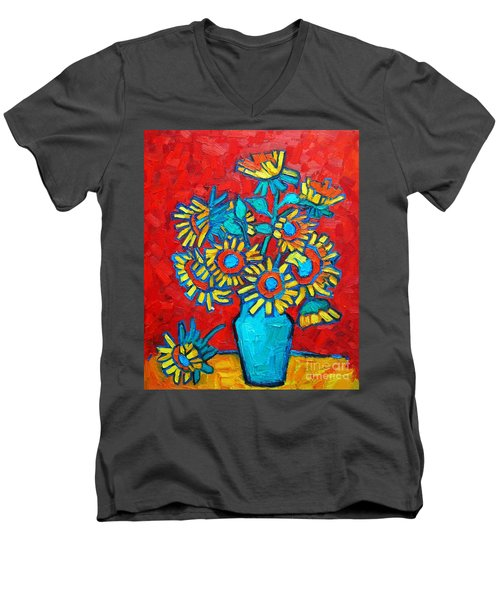 Sunflowers Bouquet Men's V-Neck T-Shirt by Ana Maria Edulescu