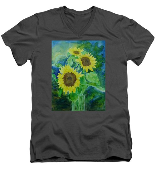 Sunflowers Colorful Sunflower Art Of Original Watercolor Men's V-Neck T-Shirt by Elizabeth Sawyer