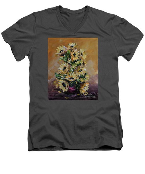 Men's V-Neck T-Shirt featuring the painting Sunflowers For You by Teresa Wegrzyn