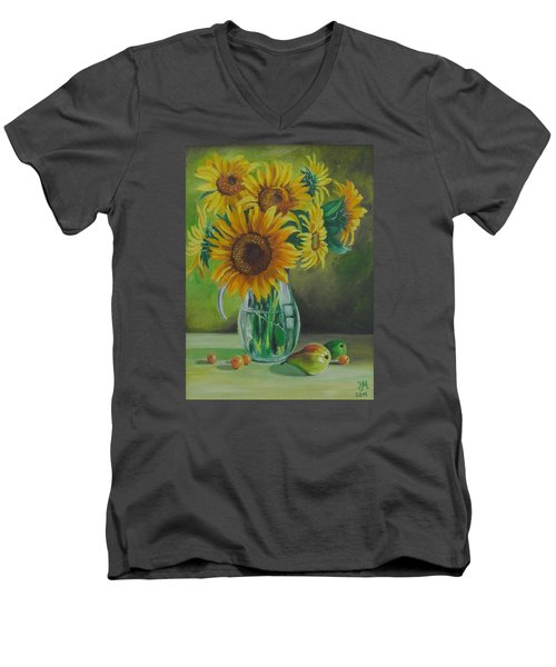 Men's V-Neck T-Shirt featuring the painting Sunflowers In Glass Jug by Nina Mitkova