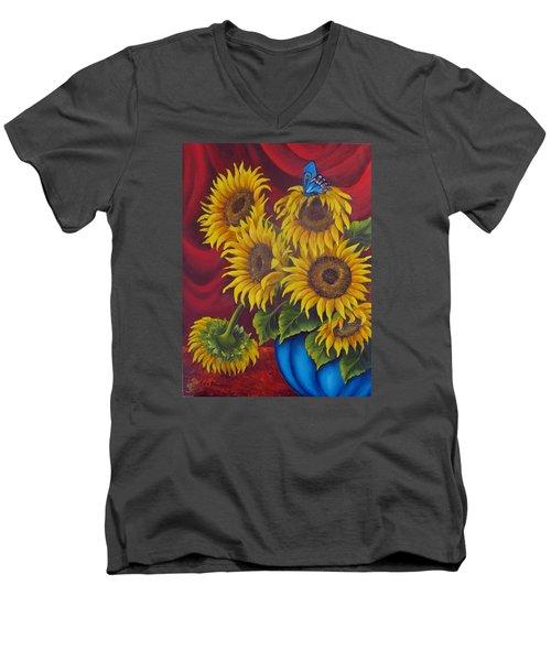 Sunflowers Men's V-Neck T-Shirt by Katia Aho