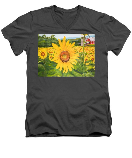 Sunflowers - Red Barn - Pennsylvania Men's V-Neck T-Shirt