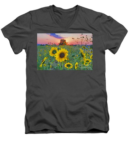 Sunflowers Sunset Men's V-Neck T-Shirt