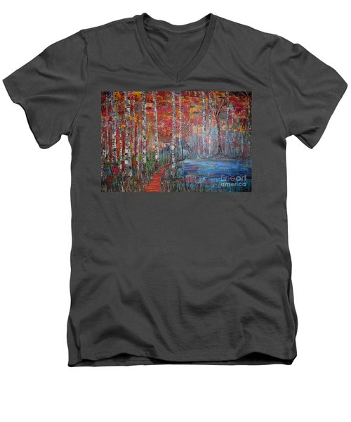 Sunlit Birch Pathway Men's V-Neck T-Shirt