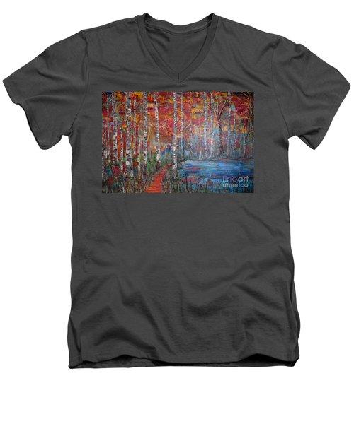 Sunlit Birch Pathway Men's V-Neck T-Shirt