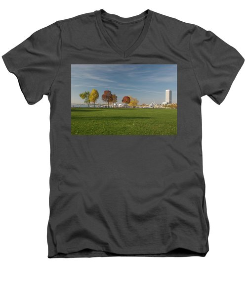 Men's V-Neck T-Shirt featuring the photograph Sunny Autumn Day by Jonah  Anderson
