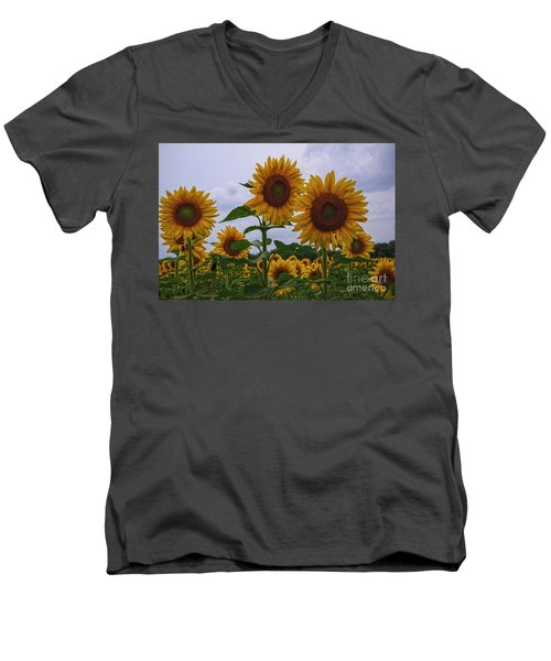 Men's V-Neck T-Shirt featuring the photograph Sunny Faces by Debra Fedchin