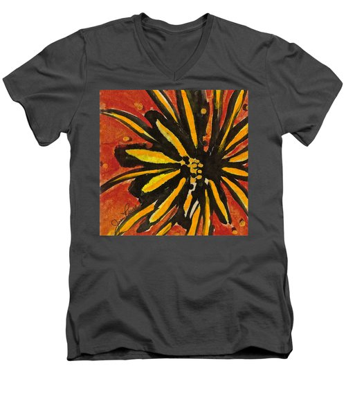 Men's V-Neck T-Shirt featuring the painting Sunny Hues Watercolor by Joan Reese