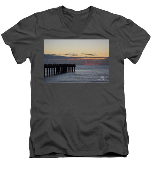 Men's V-Neck T-Shirt featuring the photograph Sunny Isles Fishing Pier Sunrise by Rafael Salazar