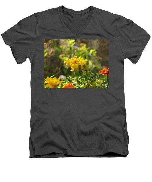 Sunny Marigold Men's V-Neck T-Shirt by Leone Lund