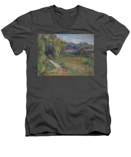 Sunny Morning In The Park -wetlands - Original - Textural Palette Knife Painting Men's V-Neck T-Shirt