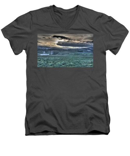 Sunrise At A Small Pond In Yellowstone Men's V-Neck T-Shirt