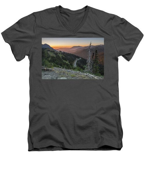 Sunrise At Hurricane Ridge - Sunrise Peak Men's V-Neck T-Shirt by Charlie Duncan