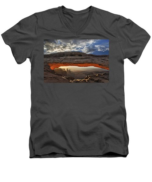 Men's V-Neck T-Shirt featuring the photograph Sunrise At Mesa Arch by Roman Kurywczak