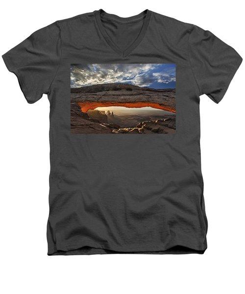 Sunrise At Mesa Arch Men's V-Neck T-Shirt by Roman Kurywczak
