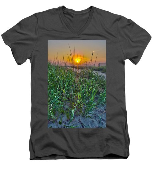Men's V-Neck T-Shirt featuring the photograph Sunrise At Myrtle Beach by Alex Grichenko