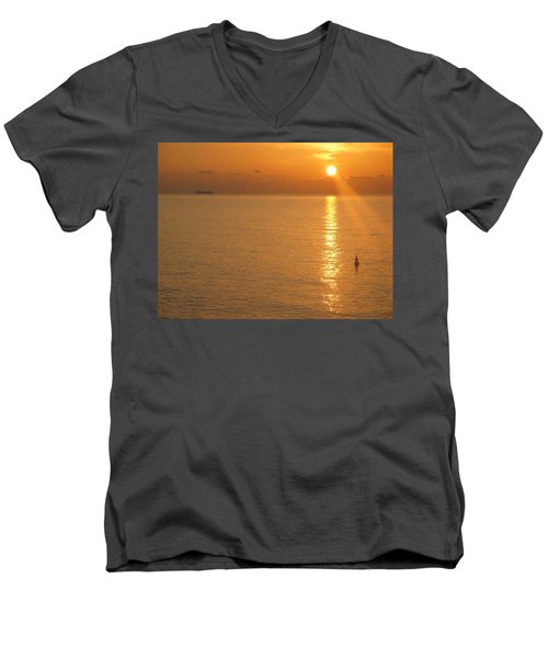 Men's V-Neck T-Shirt featuring the photograph Sunrise At Sea by Photographic Arts And Design Studio