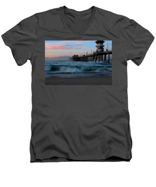Sunrise At The Pier Men's V-Neck T-Shirt by Duncan Selby