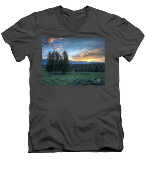 Sunrise Behind Pine Trees In Yellowstone Men's V-Neck T-Shirt