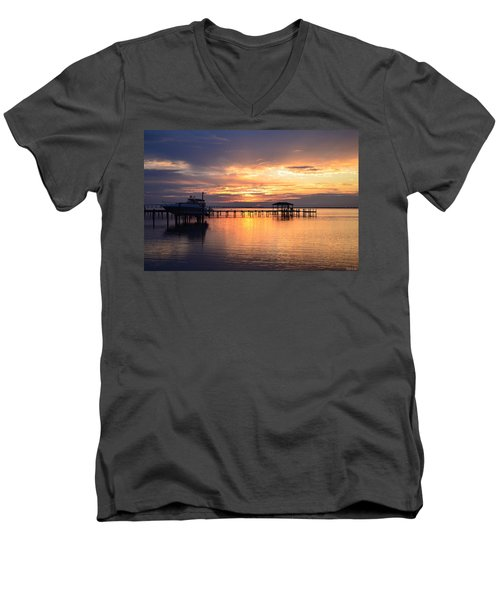 Men's V-Neck T-Shirt featuring the photograph Sunrise Colors On The Sound by Jeff at JSJ Photography