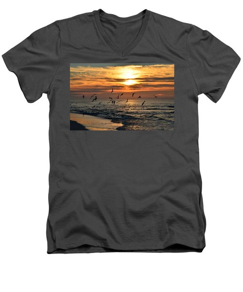 Men's V-Neck T-Shirt featuring the photograph Sunrise Colors Over Navarre Beach With Flock Of Seagulls by Jeff at JSJ Photography