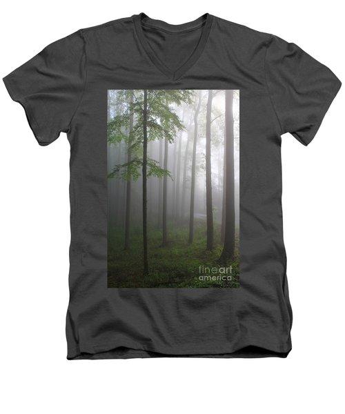 Sunrise Fog Men's V-Neck T-Shirt by Melissa Petrey