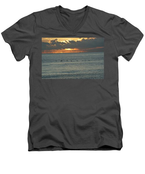 Men's V-Neck T-Shirt featuring the photograph Sunrise In Florida Riviera by Rafael Salazar