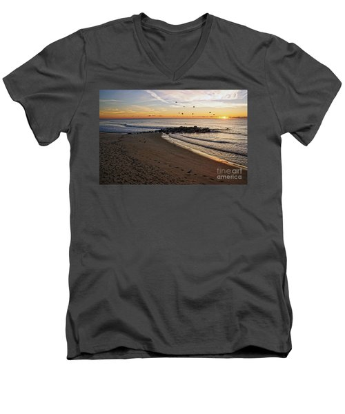 Men's V-Neck T-Shirt featuring the photograph Sunrise In Ocean Grove by Debra Fedchin