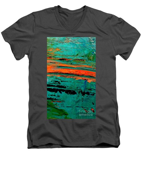 Men's V-Neck T-Shirt featuring the painting Sunrise On The Water by Jacqueline McReynolds