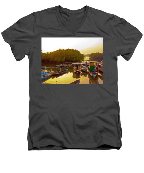 Sunrise Over Gambian Creek Men's V-Neck T-Shirt