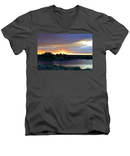 Sunrise Over Kinney Lake Men's V-Neck T-Shirt by Clarice  Lakota