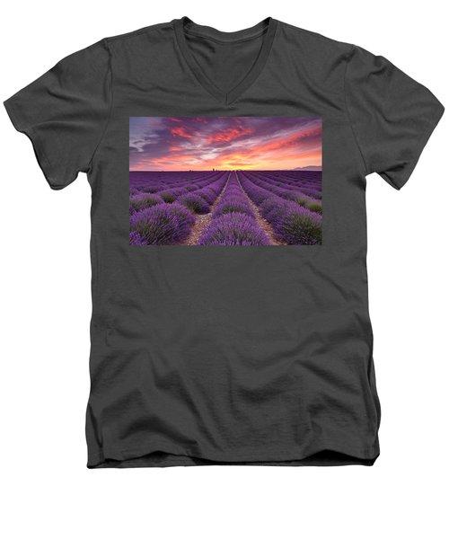 Sunrise Over Lavender Men's V-Neck T-Shirt