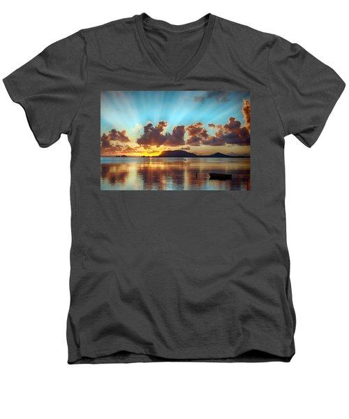 Sunrise Over Marine Corps Base Hawaii Men's V-Neck T-Shirt