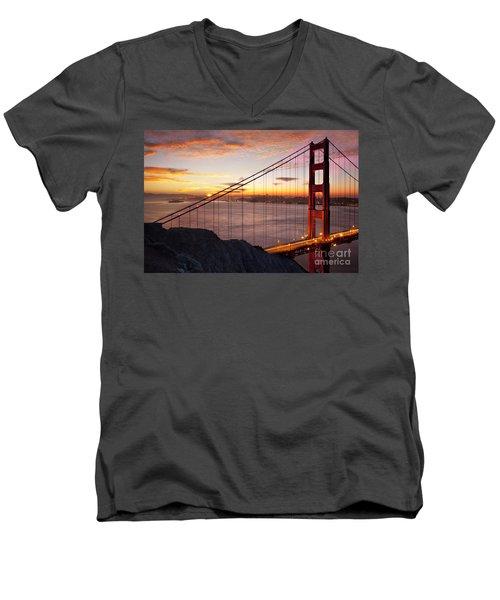 Sunrise Over The Golden Gate Bridge Men's V-Neck T-Shirt