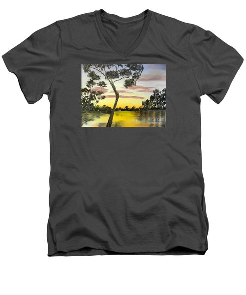Sunrise Over The Murray River At Lowson South Australia Men's V-Neck T-Shirt