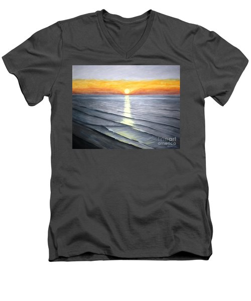 Men's V-Neck T-Shirt featuring the painting Sunrise by Stacy C Bottoms