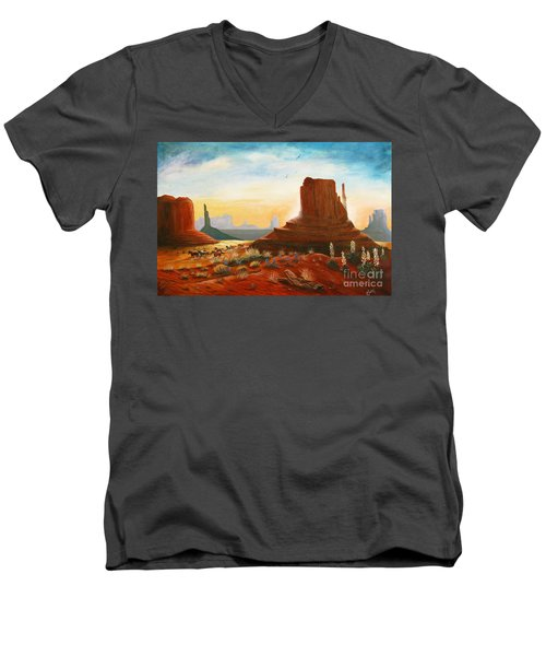 Sunrise Stampede Men's V-Neck T-Shirt by Marilyn Smith