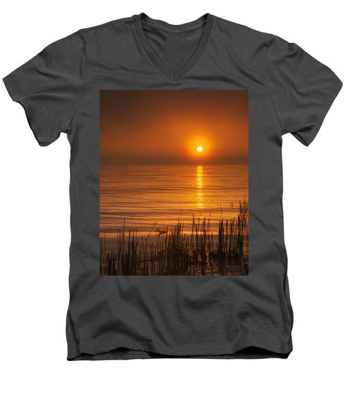 Sunrise Through The Fog Men's V-Neck T-Shirt by Scott Norris