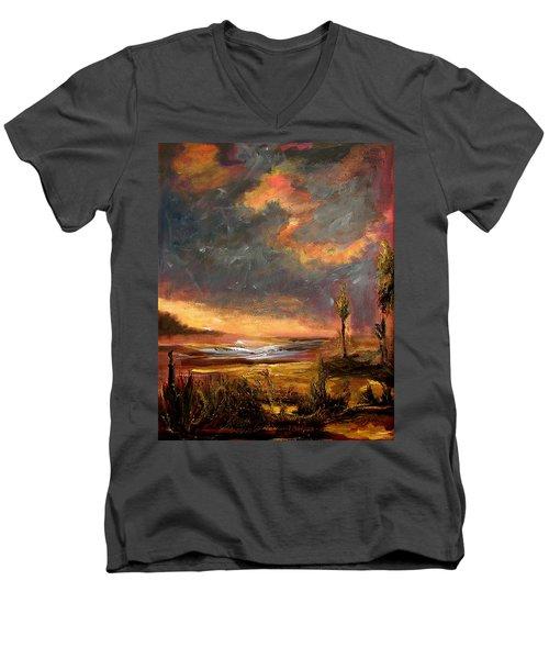Sunrise With Birds  Men's V-Neck T-Shirt