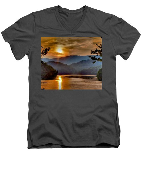 Sunset And Haze Men's V-Neck T-Shirt by Tom Culver
