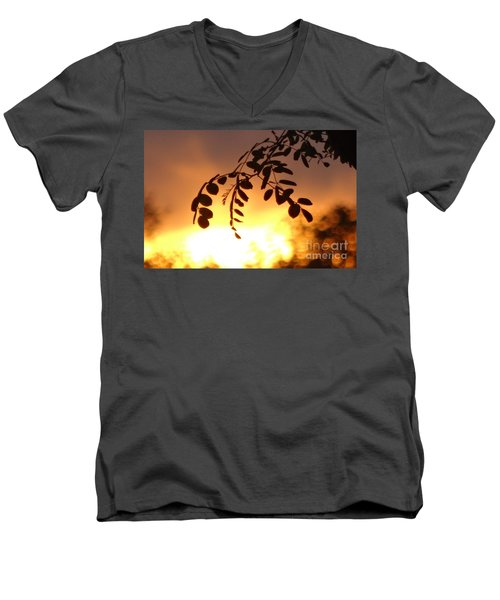 Men's V-Neck T-Shirt featuring the photograph Sunset And Leaves by Justin Moore
