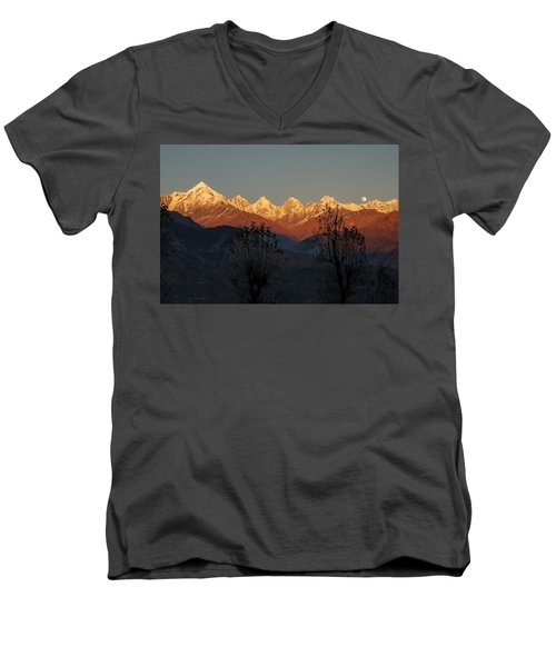 Sunset And Moonrise. The Rendezvous. Men's V-Neck T-Shirt by Fotosas Photography