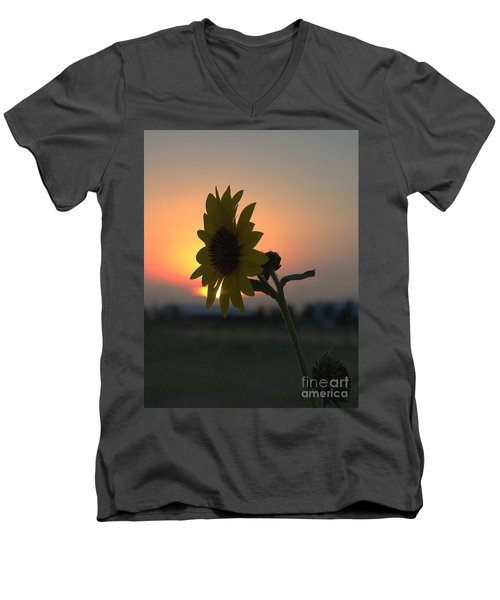 Men's V-Neck T-Shirt featuring the photograph Sunset And Sunflower by Mae Wertz