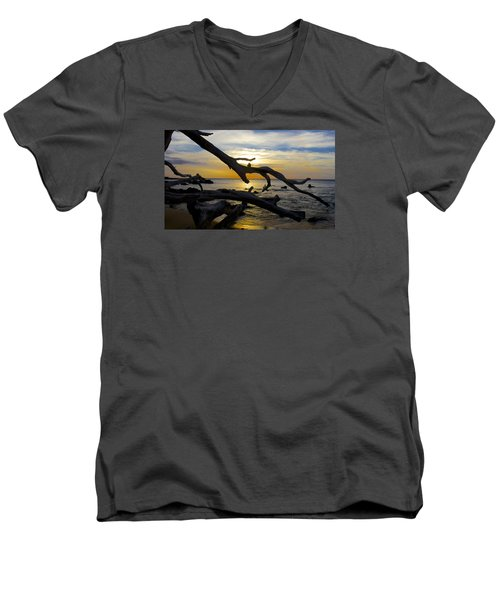 Driftwood At Sunset On Beach '69 Men's V-Neck T-Shirt by Venetia Featherstone-Witty