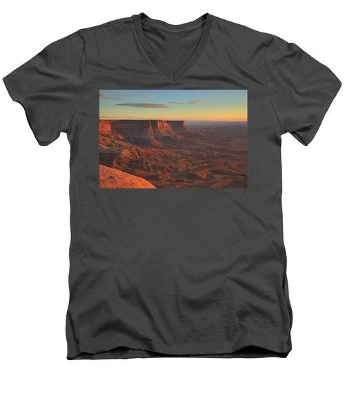 Men's V-Neck T-Shirt featuring the photograph Sunset At Canyonlands by Alan Vance Ley