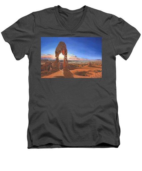 Sunset At Delicate Arch Utah Men's V-Neck T-Shirt