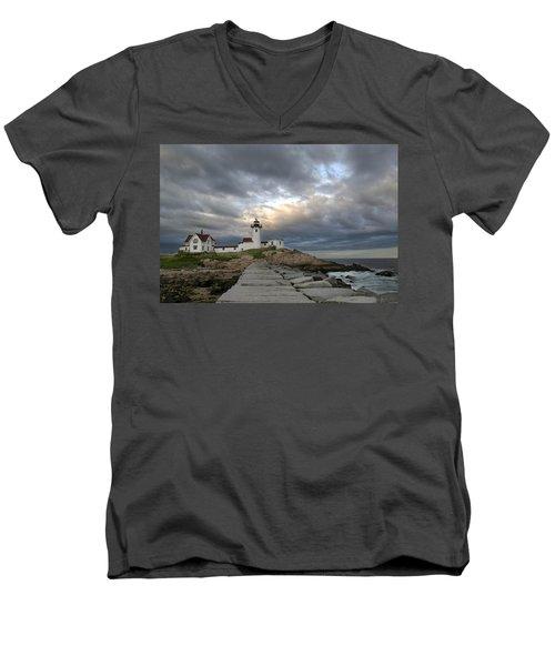 Sunset At Eastern Point Lighthouse Men's V-Neck T-Shirt
